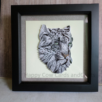 Snow Leopard quilled greeting card art (frame an optional extra)