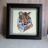 Tiger quilled greetings card  art  (frame an optional extra)