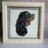 Gordon Setter quilled greetings card  art (frame an optional extra)