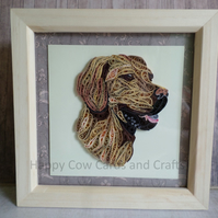 Golden Labrador quilled greetings card (frame an optional extra)