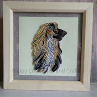 Afghan Hound quilled greetings card (frame an optional extra)