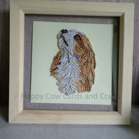 King Charles Spaniel quilled greetings card (frame an optional extra)
