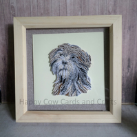 Tibetan terrier quilled greetings card (frame an optional extra)