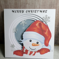 Happy Snowman layered Christmas card