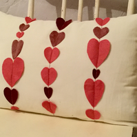 Pink Hearts on White Velvet Cushion Cover