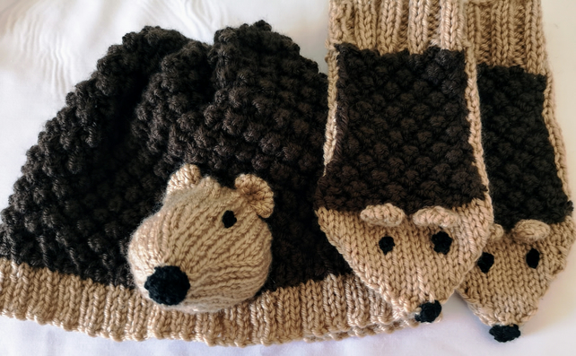 Hedgehog Hat and Mittens individual or set