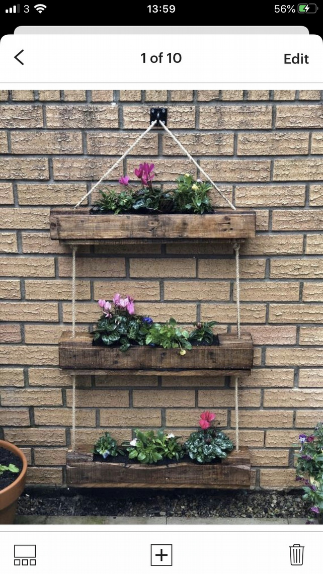 triple hanging garden planter very sturdy fully lined and stained or painted