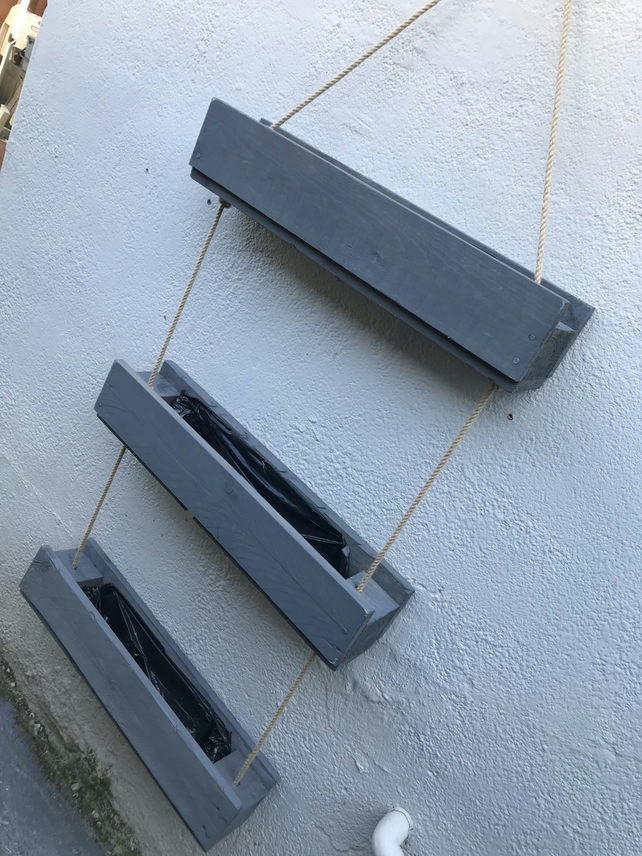 grey triple hanging garden planter very sturdy fully lined stained or painted
