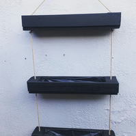 black triple hanging garden planter very sturdy fully lined stained or painted