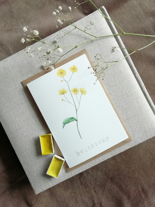 Hand painted watercolour greetings card, notecard, buttercup, wild flower.