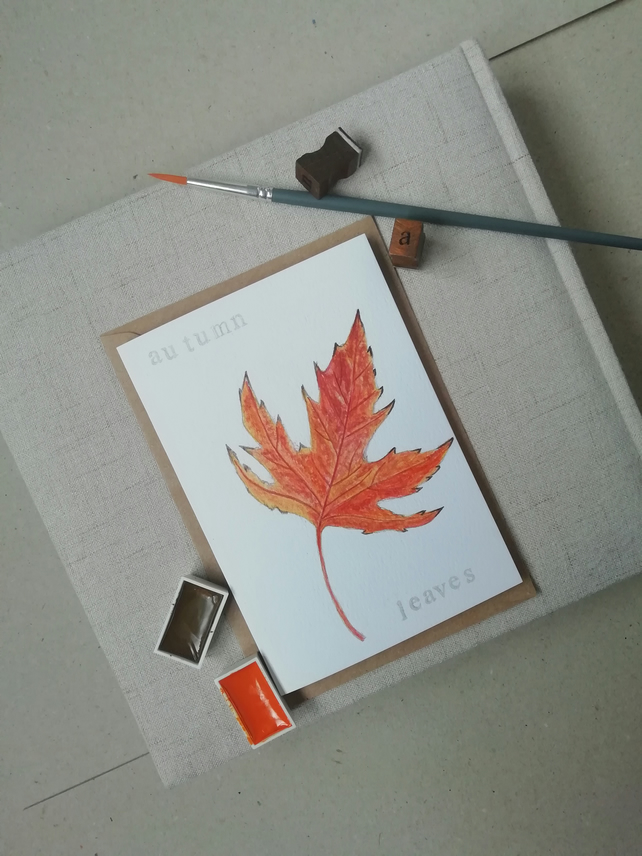 Hand painted watercolour card, autumn leaves, leaf, autumnal, tree, original.