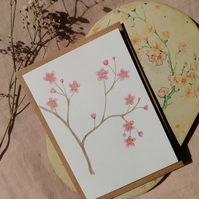 Hand painted watercolour greetings card or notecard, cherry blossoms.
