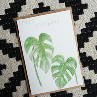 Hand painted watercolour greetings card, birthday card. Monstera deliciosa.