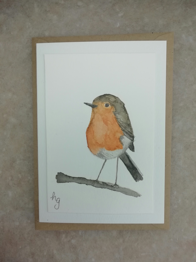 Watercolour Christmas card, robin, birds, seasons greetings, winter birthday.