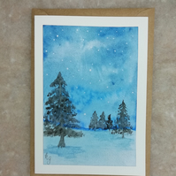 Hand painted watercolour Christmas card, winter birthday, Christmas trees.