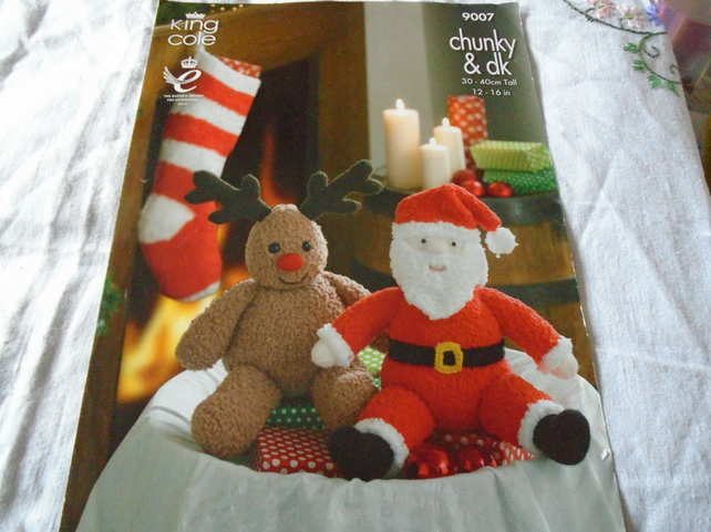 Father Christmas, Rudolph and stocking knitting pattern