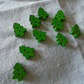 Small green wooden Christmas tree buttons set of ten