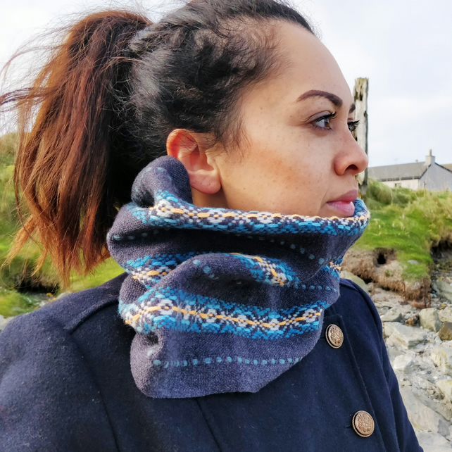 Handwoven lambswool snood, fair isle inspired, in blues, oranges and grey