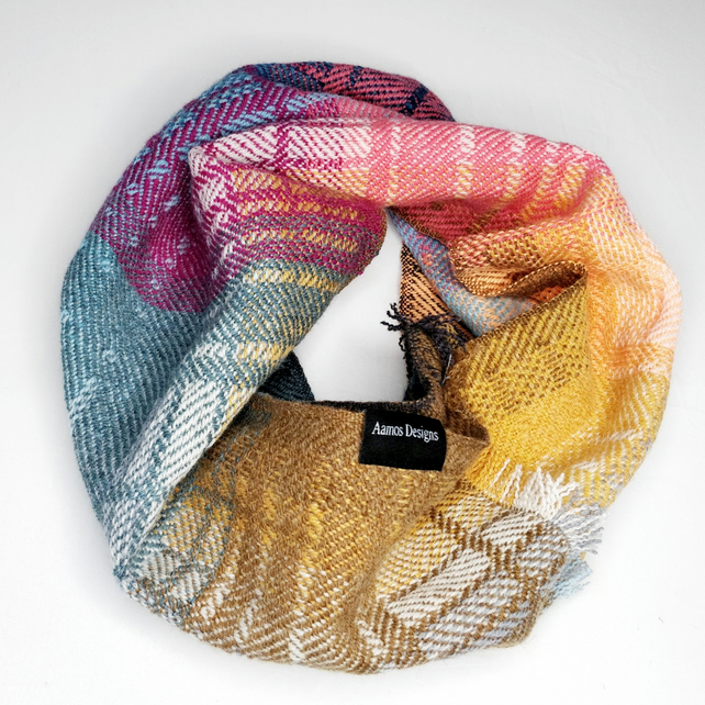 Handwoven lambswool snood, woven in blues, oranges and pinks