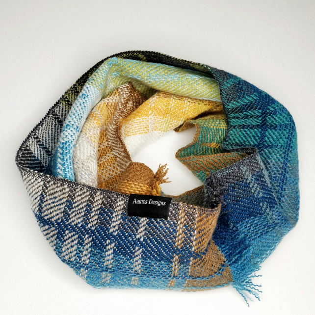 Handwoven lambswool snood, woven in blues, green and greys