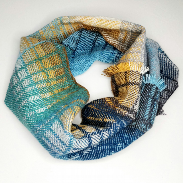Handwoven lambswool snood, woven in blues, greys and orange