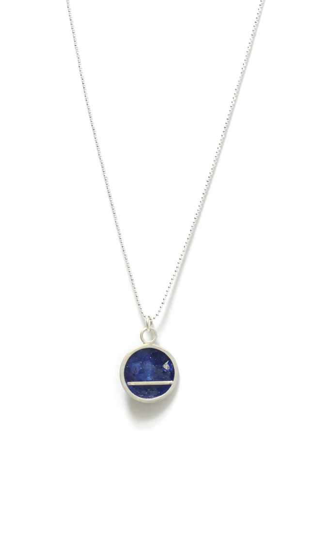 Sterling Silver Resin Necklace, Midnight Blue