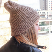 Cable knit wool and alpaca blend beanie. Hand knitted women's hat