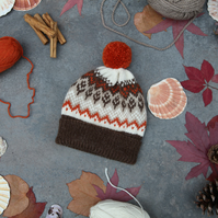 Hand knit wool bobble hat. Multicoloured winter fairisle pompom beanie  hat.