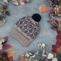 Hand knit wool bobble hat. Beige purple winter fairisle pompom beanie hat.