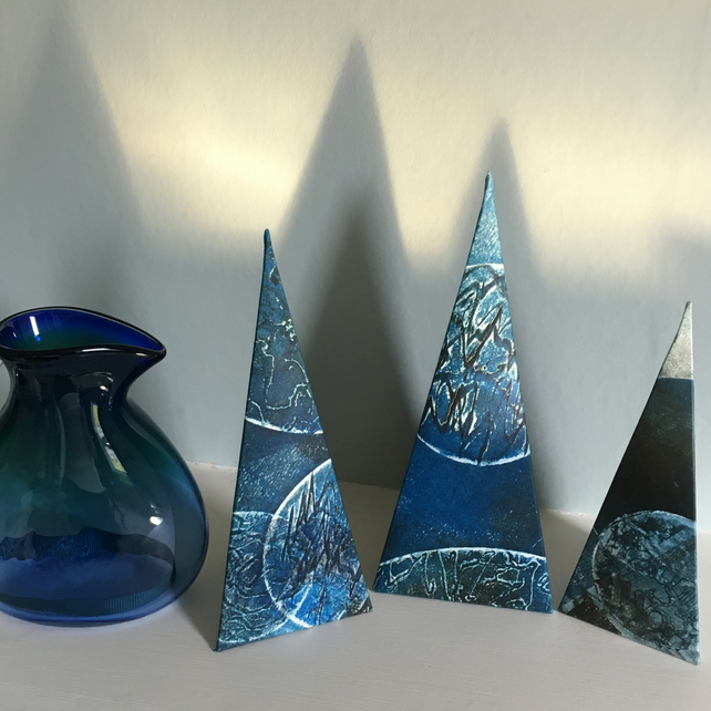 Blue Pyramid Set - Unique and original 3D collagraphs