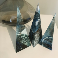 Unusual Turquoise Pyramid Collagraphs - Set of 3