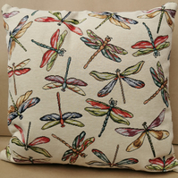 Chatham Glyn, UK Handmade, Cotton Rich Cushion - Dragonfly Design - Kapok Insert