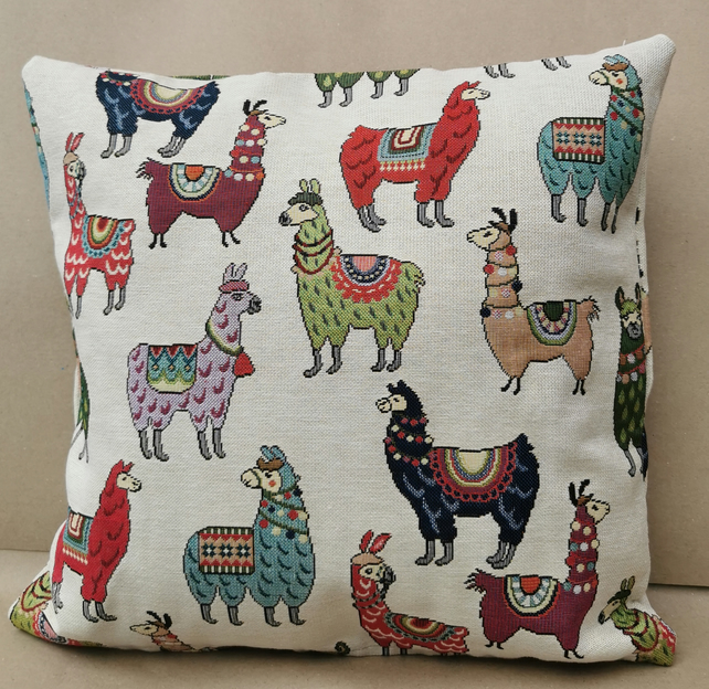 Chatham Glyn, UK Handmade, Cotton Rich Cushion - Llamas Design - Kapok Insert