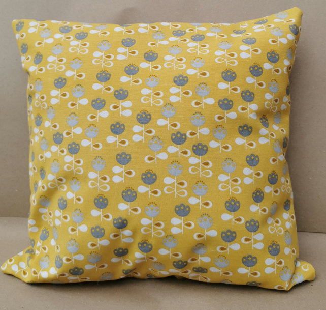 Chatham Glyn, UK Handmade, Cotton Rich Cushion Retro Yellow Flowers Kapok insert