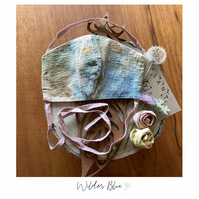 "1 x ""WilderBlues"" Eco Friendly Plant Dyed 3 layered Organic Cotton Face Mask."