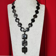 Striped black agate slider necklace