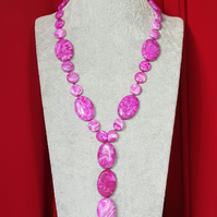 Stunning pink lace agate hand knotted slider necklace.