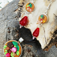 Autumn Berries Clay Jewellery Set, Pink Agate, Handmade Gift for Her