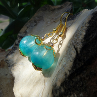 Aqua Blue Turquoise Pearl Shimmering Handcrafted Resin Earrings, Mermaid Wishes