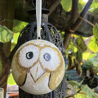 Hand painted wooden owl bauble