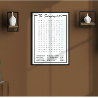 Swinging 60s A4 wordsearch. Digital Download. Wall Art Print.  A4 sized Novelty