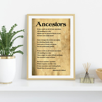 Ancestors Poster. Digital Download. Wall Art Print.  A4 sized Thoughtful Quote