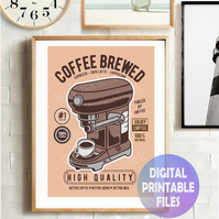 Brewed coffee poster. Printable A4 Poster Wall Art Print.  Retro art