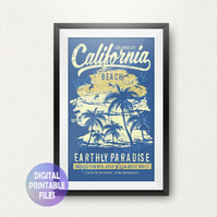 California Beach poster. Printable A4 Poster Wall Art Print.  Los Angeles,