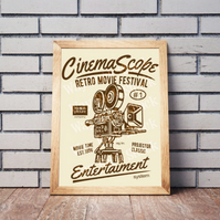 Cinema Scope poster. Printable A4 Poster Wall Art Print. Film. Movies