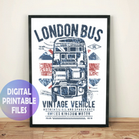 London bus poster. Printable A4 Poster Wall Art Print.  England, UK