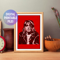 Kurt Cobain Word Art. A4 Wall Art Print.  Print at Home. Rock Star, Nirvana,