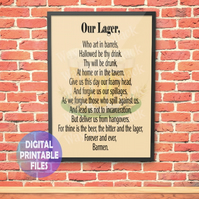 Our Lager poster. Printable A4 Poster Wall Art Print.  Man cave, Pub Shed