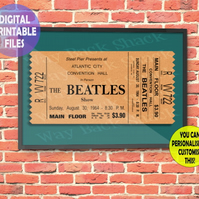 Re-imagined Beatles Concert Ticket A4 Wall Art Print.  Print at Home.