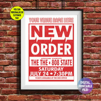 New Order - Played at YOUR Music Venue! printable A4 Poster Wall Art Print.
